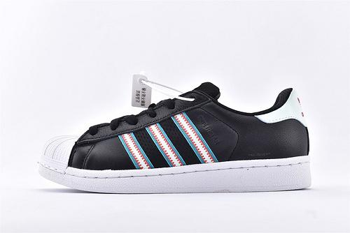 Adidas 三叶草 Superstar 贝壳头系列/黑白 刺绣logo 软蓝底 全头层软底  货号:BD7417  男女鞋  情侣款