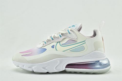 "Nike AirMax 270 React ""BAUHAUS"" 半小掌气垫气垫跑鞋/白彩虹 渐变  货号:CK6929-100  女鞋"