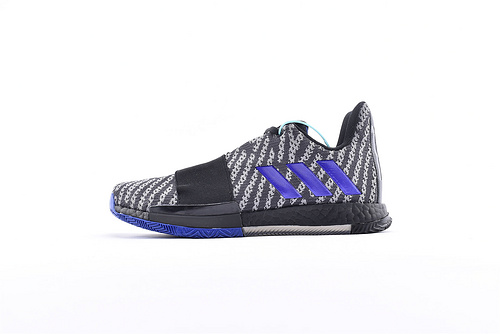 Adidas Harden Vol. 3 Boost 哈登3代爆米花篮球鞋/黑灰斑马 蓝 缓震效果显著 实战无忧 高端篮球鞋  货号:EE3957 男鞋