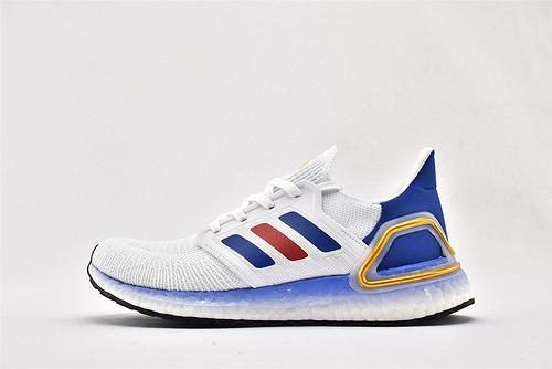 Adidas ULTRA BOOST UB 20 米花缓震跑鞋/白蓝红 金尾  货号:FY9039  男鞋