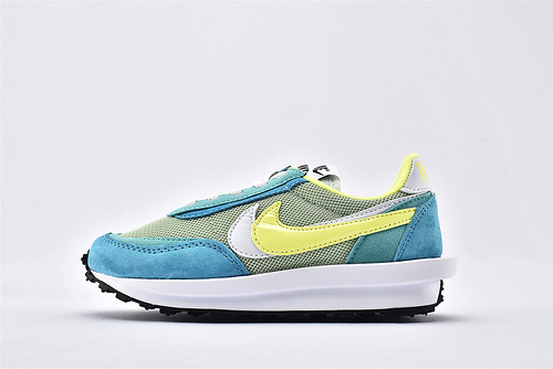 Sacai x Nike LVD Waffle Daybreak 联名走秀款解构高端跑鞋/新华夫童鞋 【浅蓝荧光绿】 原装版  货号:BV0073-600  童鞋