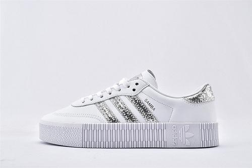 Originals 三叶草厚底板鞋/白银 原盒原标 全头层牛皮 厚底增高  货号:FX3819  女鞋