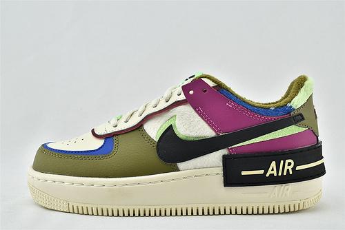 Nike Air Force1 Sage AF1 空军一号/低帮女解子构板鞋 厚底 马卡龙 双钩 米白绿紫 拼色  加绒款  货号:CT1985-500  女鞋