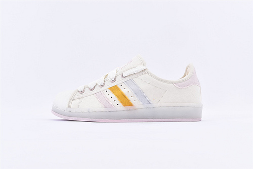 Adidas 三叶草 Superstar 贝壳头帆布系列/米白浅灰黄 水晶果冻粉底  货号:S82588  男女鞋  情侣款