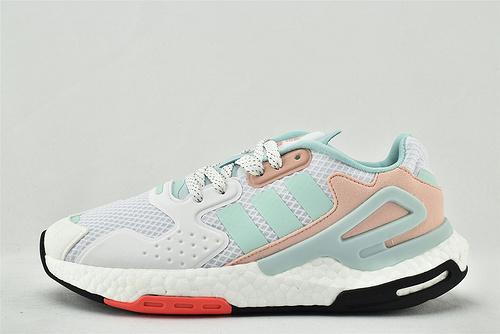 Adidas 三叶草 DAY JOGGER boost 夜行者2.0缓震跑鞋/白粉绿 薄荷绿 蒂芙尼 3M反光版  货号:FY3018   女鞋