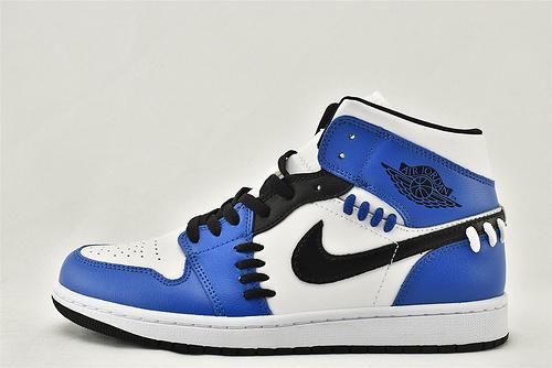 Air Jordan 1 Mid SE AJ1乔丹1代中帮篮球鞋/白蓝 小闪电 解构款 粗线  货号:CV0152-401  男女鞋  情侣款
