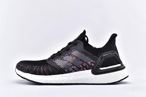 Adidas Ultra Boost UB20 爆米花5.0缓震跑鞋/黑白彩虹 镭射  货号:EG0711  男女鞋  情侣款