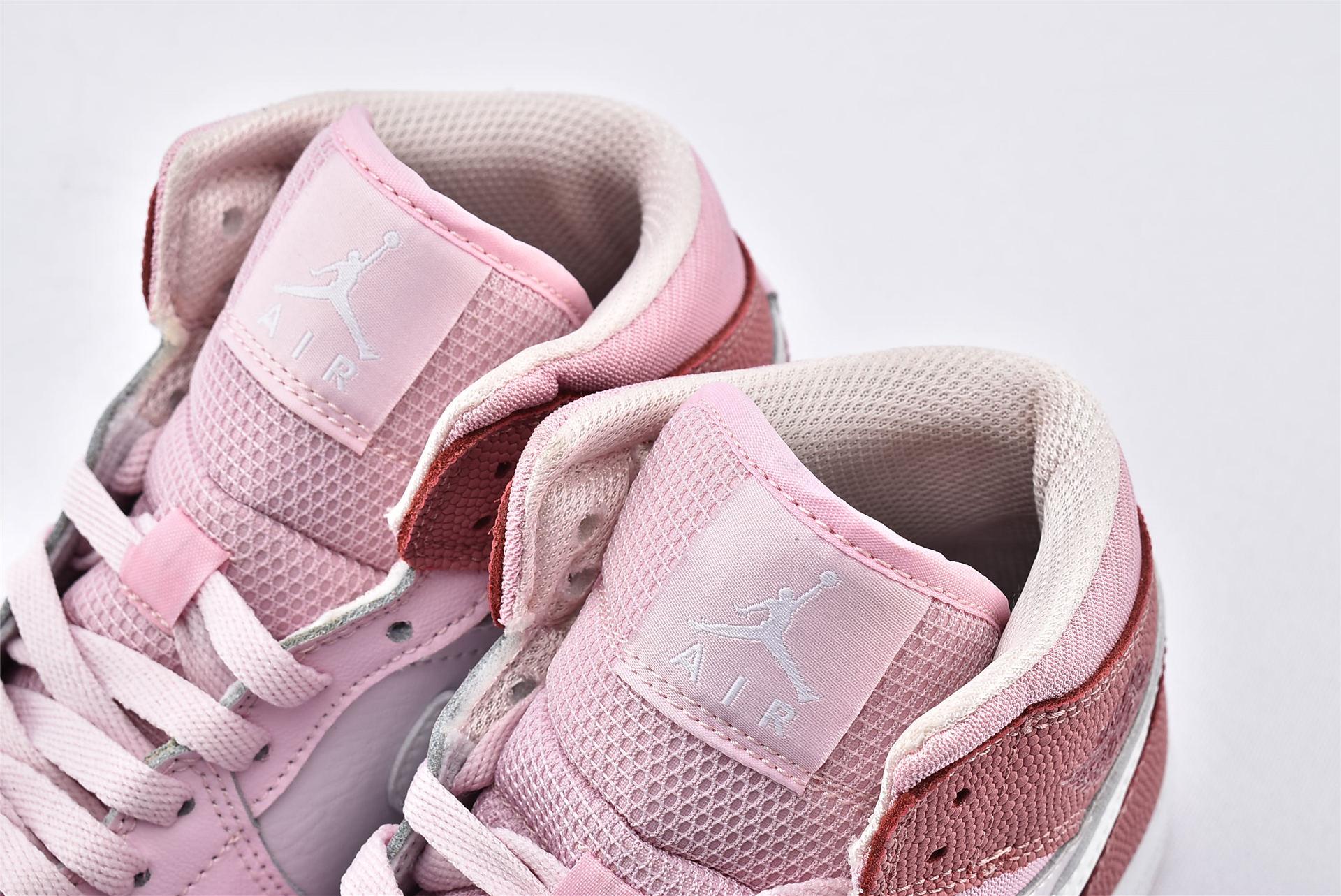 Air Jordan 1 Mid AJ1中帮篮球鞋/女神粉 樱花粉 数码粉  纯原版  货号:CW5379-600  女鞋