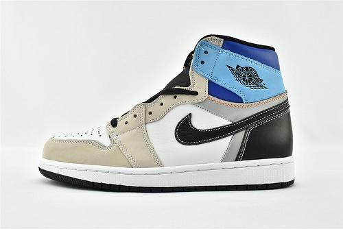 Air Jordan 1 AJ1 乔丹1代高帮篮球鞋/ 浅灰白蓝 拼色 3M反光版  原装  货号:DC6515-100   男女鞋  情侣款