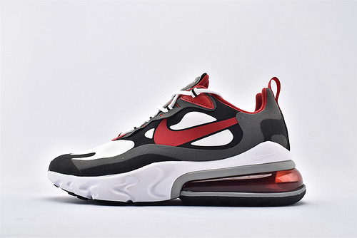 "Nike Air Max 270 React ""BAUHAUS"" 半小掌气垫气垫跑鞋/黑白灰红 拼色 泡棉  芯片版  货号:CI3866-002  男鞋"