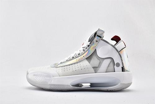 Air Jordan XXXIVPF 34 AJ34 乔丹34代篮球鞋/郭艾伦 白镭色 全明星 镂空 款 实战篮版  货号:BQ3381-101  男鞋