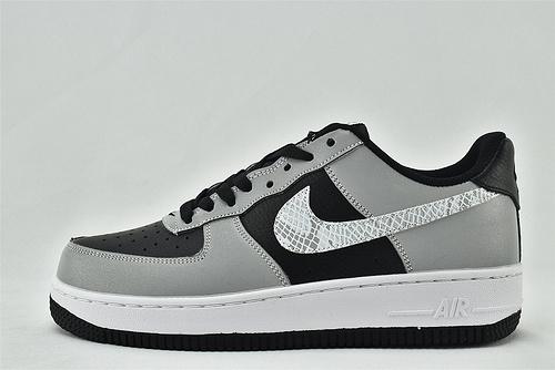 Nike Air Force 1 空军一号/低帮 黑灰 蛇纹logo  货号:DJ6033-001  男女鞋  情侣款