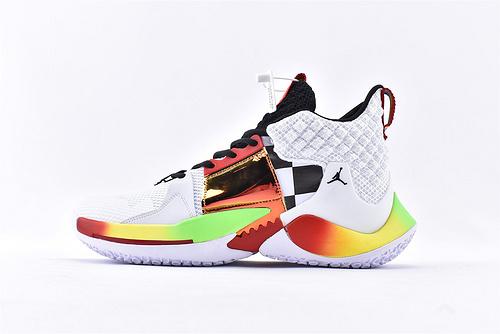 Jordan Why Not Zer0.2 PF 威少2代篮球鞋系列/黑白金彩虹  实战无忧 内置缓震气垫  货号:BV6352-170  男鞋