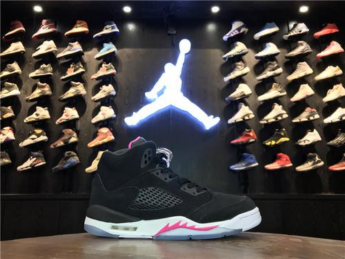 """乔丹/Air Jordan 【真标公司货】aj5 AJ5 乔丹5代 乔5 乔丹5 高帮系列 Air Jordan 5 GS """"Deadly Pink"""" 货号:440892-029 乔5黑粉 36-40"""