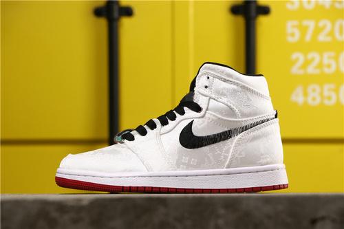 """【超A】乔丹/Air Jordan AJ1 aj1 乔1 乔丹1代中帮系列CLOT x Air Jordan 1 Mid """"Fearless""""货号:CU2804-100 乔1中帮白丝绸 36-46"""