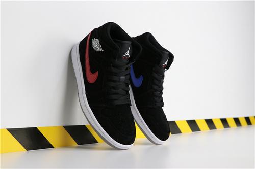 乔丹/Air Jordan【超级A】AJ1 aj1 乔丹1代 乔1 乔丹1代中帮系列 Air Jordan 1 MID 货号:554724-065 乔1中帮黑红蓝钩子鸳鸯 40-45