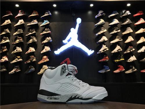"""乔丹/Air Jordan【真标公司货】aj5 AJ5 乔丹5代 乔5 乔丹5代高帮 Air Jordan 5 """"White Cement""""货号:136027-104 乔5白水泥 41-47"""