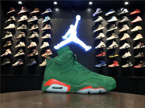 """乔丹/Air Jordan【真标最高版】aj6 AJ6 乔丹6代 乔6 乔丹6 Air Jordan 6 """"Gatorade"""" 货号:384664-145 乔6佳得乐绿麂皮 40.5-47.5"""