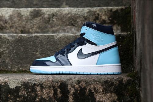 """乔丹/Air Jordan 【真标裁片级】aj1 AJ1 乔丹1代 乔丹1 乔1 Air Jordan 1 """"UNC Patent"""" 货号:CD0461-401 乔1北卡漆皮脚趾 36-46"""