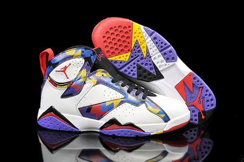 乔丹/Air Jordan 【情侣】【超A PU革】AJ7 乔丹7代 乔7 乔丹7 篮球鞋 男女鞋 Air Jordan 7 乔7毛衣 乔7白紫 36-47
