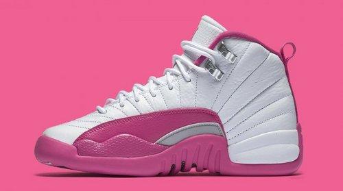 """乔丹/Air Jordan  乔丹12代 AJ12 乔12 乔丹12 篮球鞋 女鞋 Air Jordan 12 GS """"Valentine's Day""""乔12白粉 乔12情人节 货号:510815-109 36-40"""