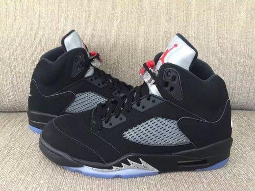 """乔丹/Air Jordan AJ5 乔丹5代 乔5 乔丹5 篮球鞋 男鞋 真标 裁片级 1:1 Air Jordan 5 Retro OG """"Metallic Black""""乔5复刻黑银 货号:8450"""