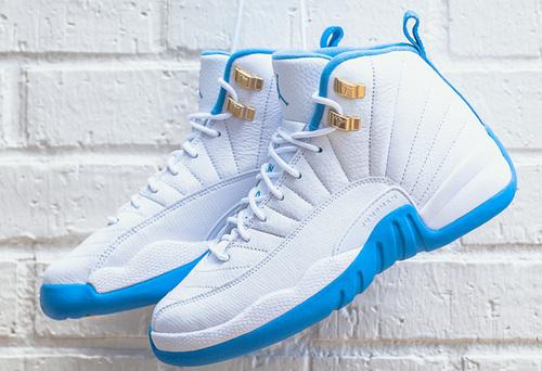 """乔丹/Air Jordan  aj12 AJ12 乔丹12代 乔丹12 乔12 篮球鞋 女鞋 1:1裁片级原装正标 Air Jordan 12 GS """"University Blue"""" 货号:510815-127 乔12北卡蓝 36-40"""
