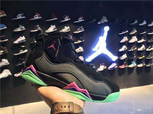 乔丹/Air Jordan 【真标超级A】aj7.5 AJ7.5 乔丹7.5 代 乔7.5 乔丹7.5 乔丹7.5代加强版 高帮 篮球鞋 女鞋 乔7.5代加强版 黑灰粉绿 货号:342774-093