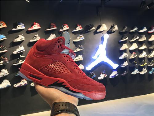 """乔丹/Air Jordan 【真标公司货】aj5 AJ5 乔丹5代 乔5 乔丹5 高帮系列 篮球鞋 男鞋 头层 裁片级 1:1  Air Jordan 5 """"Red Suede"""" 货号:136027-"""