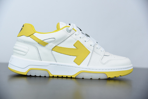 """L01N5  Off-White™ c/o Virgil Abloh Out Of Office Low-top Leather Sneakers""""OOO""""复古百搭休闲运动板鞋""""皮革米白黄色箭头"""" 尺"""