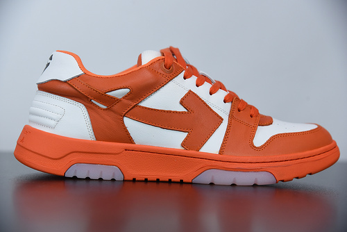 """L01N5  Off-White™ c/o Virgil Abloh Out Of Office Low-top Leather Sneakers""""OOO""""复古百搭休闲运动板鞋""""皮革米白橘色箭头"""""""