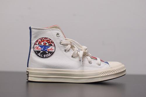 W03Z3 Converse匡威1970S白黑红三色拼接高帮男女鞋帆布鞋166747C,尺码:35-44