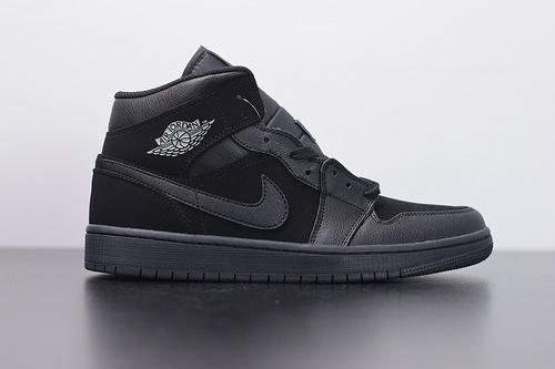 X03Y4 Air Jordan 1 mid aj1中帮品质纯黑 黑猫 货号:554724 050尺码:36 -46带半码