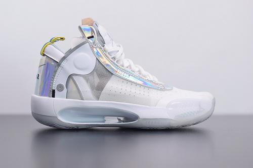 "F07X4 Air Jordan 34 ""White lridescent""PF白镭射 专业实战篮球鞋:BQ3381-101尺码39-46"