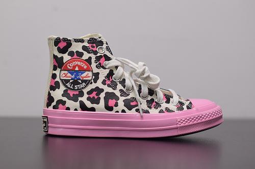 W03Z3 Converse/匡威1970s黑标豹纹拼接高帮帆布鞋女板鞋166749C 尺码:35-39