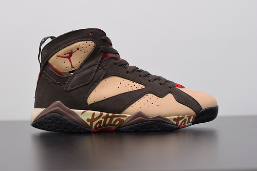 "L03V6 荷兰潮流品牌Patta x   NK  Jordan 7 Retro""Shimmer""乔丹AJ7代复古休闲文化篮球鞋""深棕植绒黄""AT3375-200尺码40-46带半码"