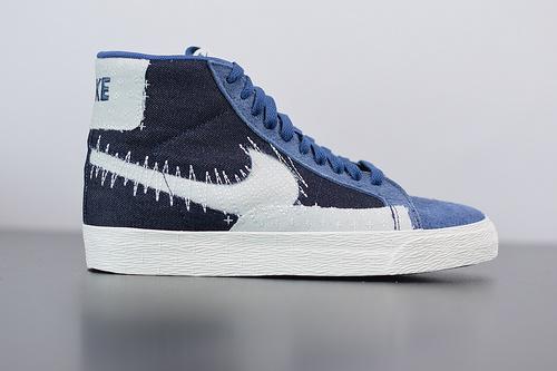 Q06W3 NK  SB Blazer Mid 棕蓝牛仔刺绣 开拓者拆线板鞋 CT0715-400尺码:36-45
