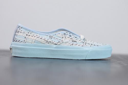 "W04Z3 范斯VANS VAULT OG Authentic LX barneys""Tweed""高定系列4孔低帮系带复古帆布休闲运动板鞋""浅蓝米白粗花呢""35-44"