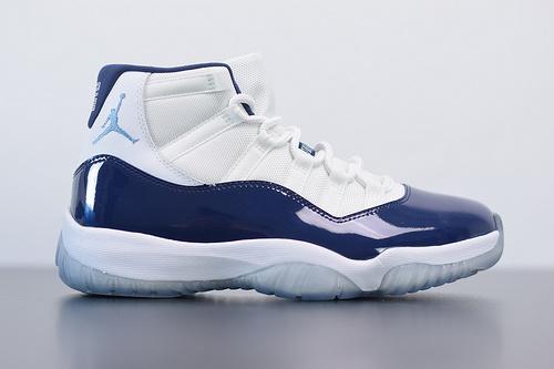 T05T5 Air Jordan 11 AJ11 乔丹11代高帮篮球鞋/乔治城白蓝 午夜蓝货号378037-123尺码40-46