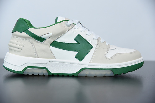 """L01N5  Off-White™ c/o Virgil Abloh Out Of Office Low-top Leather Sneakers""""OOO""""复古百搭休闲运动板鞋""""皮革米白绿色箭头"""" 尺"""