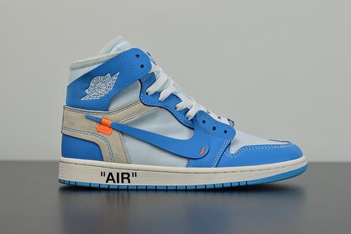 A00C6 PK升级版本   Air Jordan 1 x Off-White AJ1乔丹1代联名款篮球鞋/OW款 北卡蓝AQ0818 148 尺码36-47.5