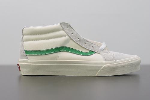 W02S3  Vans SK8-Mid Reissue 经典中帮白绿 真标硫化休闲板鞋 35-44