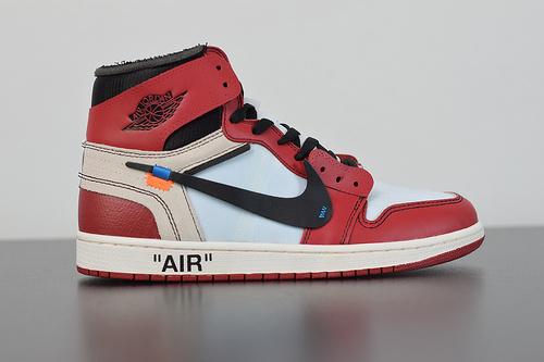 A00C6  Air Jordan 1 x Off-White AJ1乔丹1代联名款篮球鞋 黑白红 AA3834 101 尺码36-47.5带半码