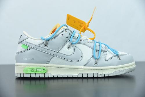 "H03G5 Off-White x Nk Dunk Low""04 of 50""OW 白灰色 蓝鞋带绿标 休闲运动滑板鞋 货号:DM1602-115 尺码:36-47.5"