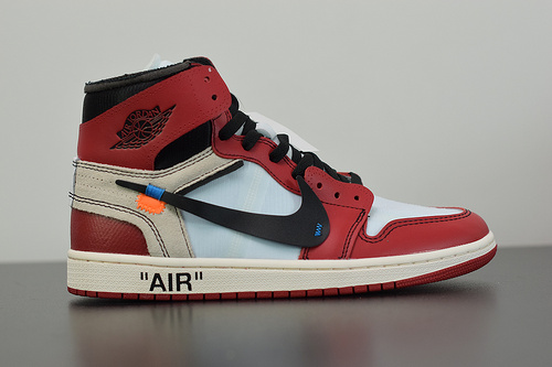 A00C6 Air Jordan 1 x Off-White AJ1乔丹1代联名款篮球鞋 白红 AA3834 101 尺码36-47.5带半码