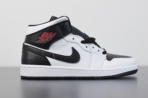 X03Y4 全头层皮 Air Jordan 1 Mid 白黑红 货号:BQ6472-101尺码40-46带半码