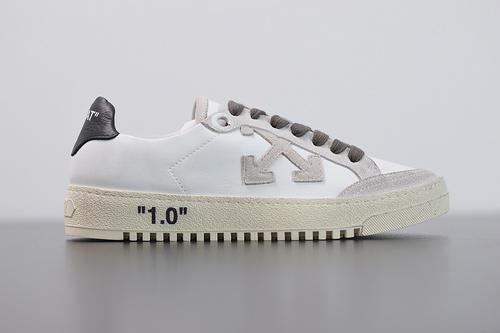 "L06N4 Off-White™️ c/o Virgil Abloh 2.0  Leather Sneaker""LEFT/RIGHT"" 复古休闲百搭运动板鞋""皮革白灰黑橙做旧"" 35-44"