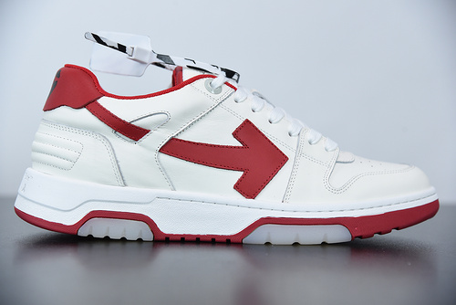 """L01N5  Off-White™ c/o Virgil Abloh Out Of Office Low-top Leather Sneakers""""OOO""""复古百搭休闲运动板鞋""""皮革米白红色箭头"""" 尺"""