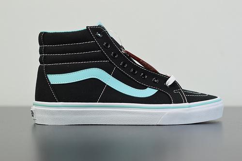 M02Z3 万斯高帮系列 VANS VAULT SK8-Hi LX 黑 /薄荷绿配色帆布鞋高帮系列高帮帆布滑板鞋  尺码:35-44