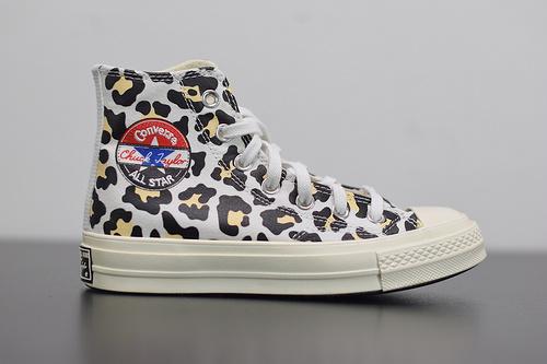 W03Z3 Converse/匡威1970s黑标豹纹拼接高帮帆布鞋男女板鞋166748C 尺码:35 -44